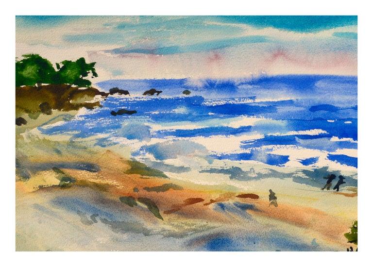 Walk on the Beach Watercolor - Coastal Figurative Landscape  - Art by Les Anderson