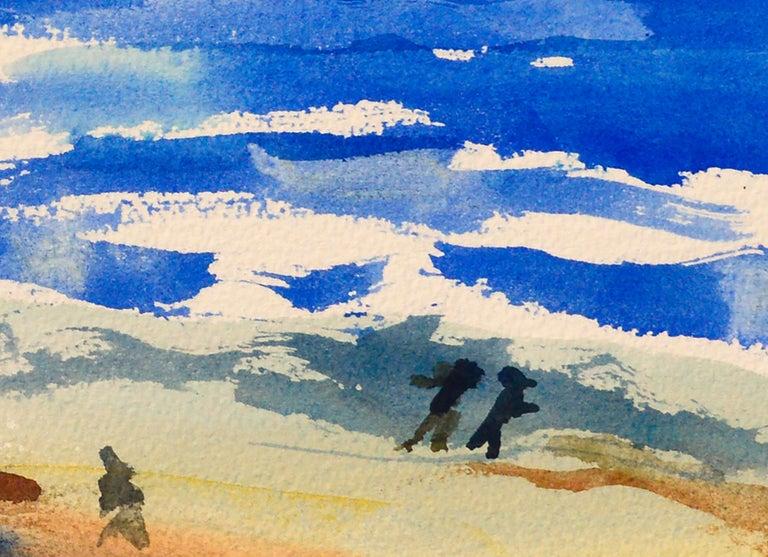 Walk on the Beach Watercolor - Coastal Figurative Landscape  - Gray Figurative Art by Les Anderson