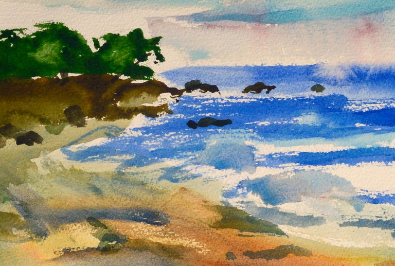 Beautiful watercolor of a coastal landscape with two figures walking along the beach by Les (Leslie Luverne) Anderson (American, 1928-2009). From the estate of Les Anderson in Monterey, California. Signed