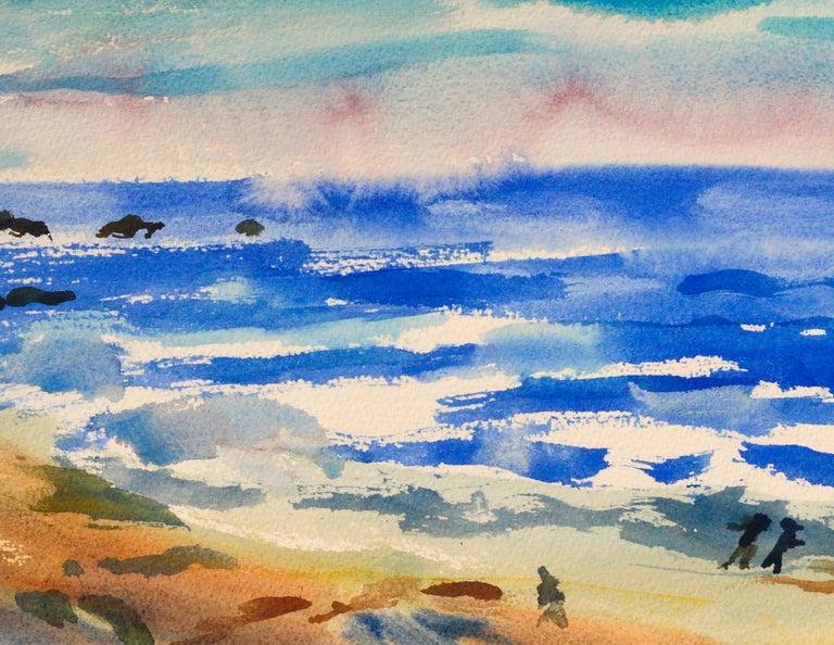 Walk on the Beach Watercolor - Coastal Figurative Landscape  - American Impressionist Art by Les Anderson