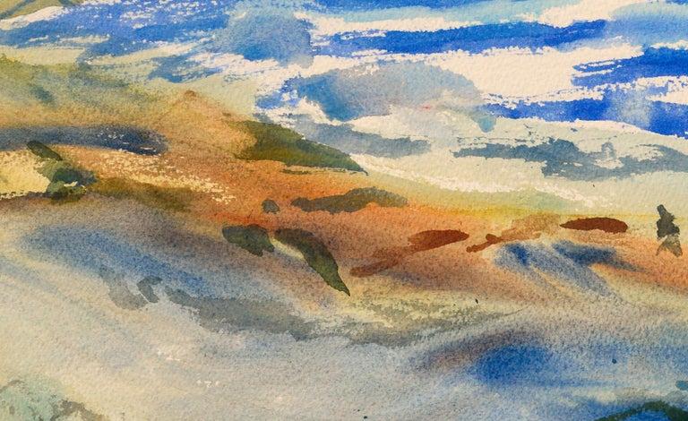Walk on the Beach Watercolor - Coastal Figurative Landscape  For Sale 1