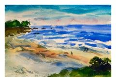 Walk on the Beach Watercolor - Coastal Figurative Landscape