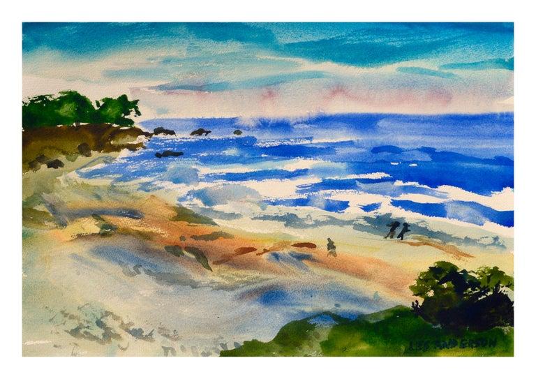 Les Anderson Figurative Art - Walk on the Beach Watercolor - Coastal Figurative Landscape