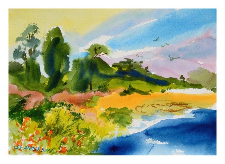 Les Anderson Landscape Art - New Brighton Eucalyptus Landscape