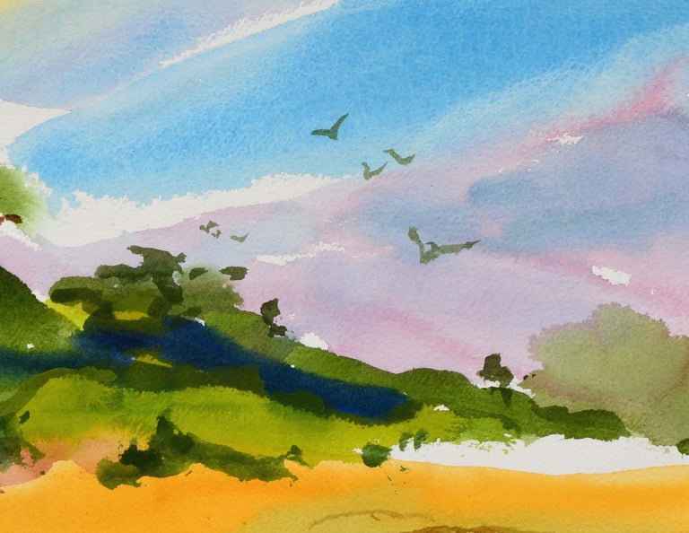 New Brighton Eucalyptus Landscape  - Gray Landscape Art by Les Anderson