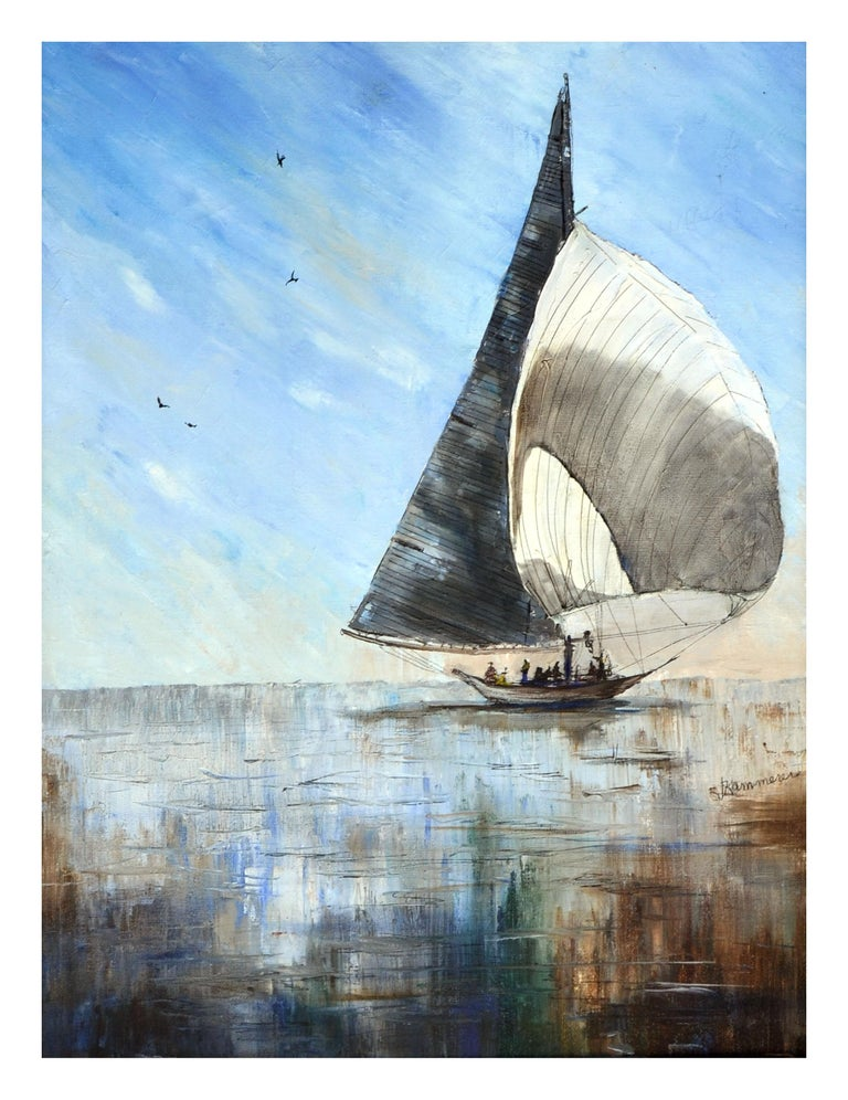 Sailboat Seascape  - Painting by Jaqueline Kammerer Cattaneo