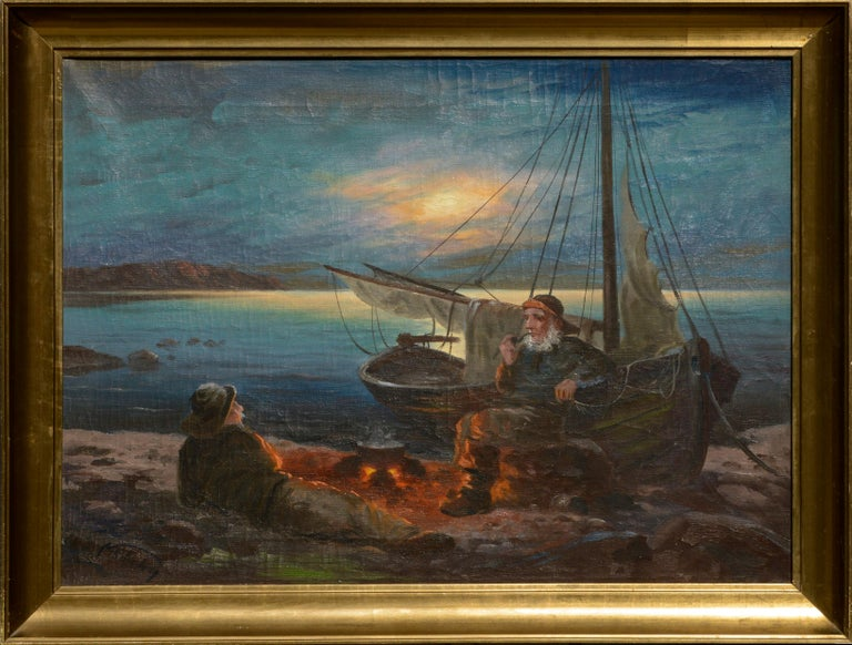 Nikolai Silverberg Figurative Painting - Two Sailors at the Campfire - Seascape