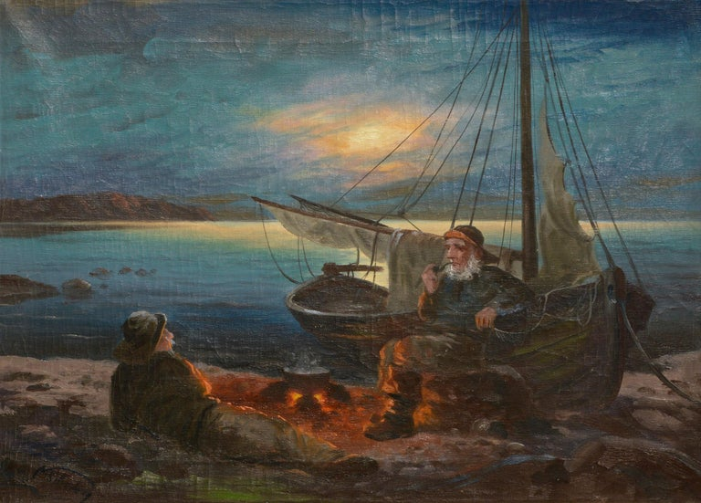 Two Sailors at the Campfire - Seascape - Painting by Nikolai Silverberg