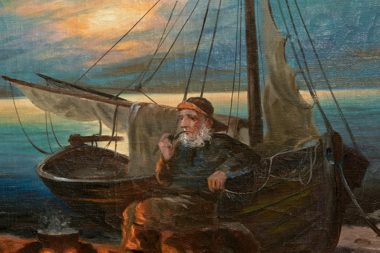 Two Sailors at the Campfire - Seascape - Impressionist Painting by Nikolai Silverberg