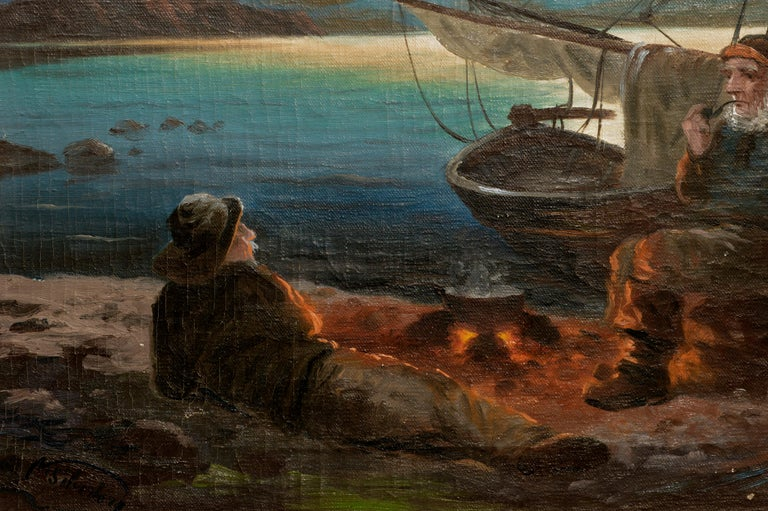 Two Sailors at the Campfire - Seascape - Black Figurative Painting by Nikolai Silverberg
