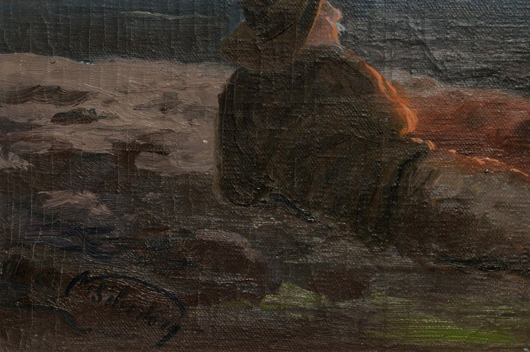 Dramatic seascape with two sailors around a campfire by Nikolai Silverberg (Silfverberg) (Finnish, 1899-1977). Signed in the lower left corner. Presented in a giltwood frame. Image size: 17
