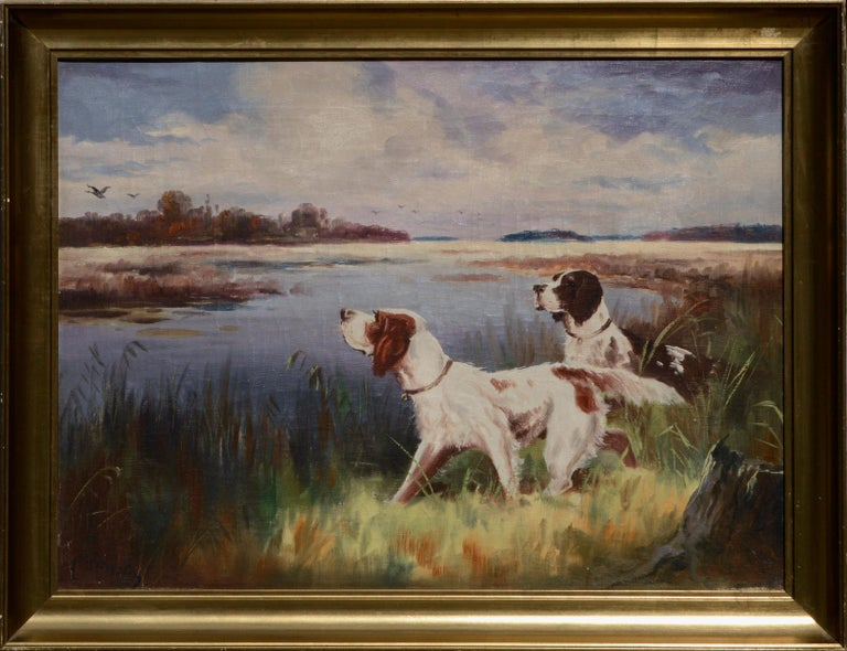 Nikolai Silverberg Landscape Painting - Hunting Dogs by the Lake - Landscape
