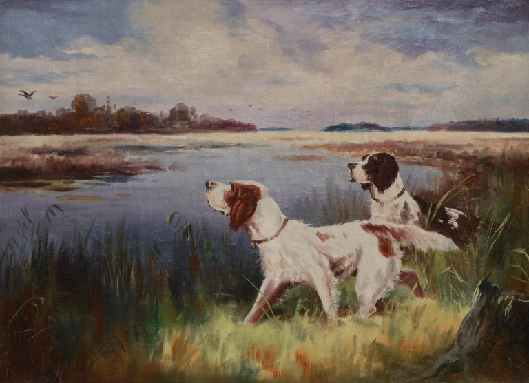 Hunting Dogs by the Lake - Landscape - Painting by Nikolai Silverberg
