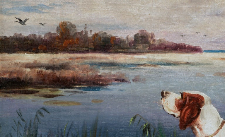 Hunting Dogs by the Lake - Landscape - Impressionist Painting by Nikolai Silverberg