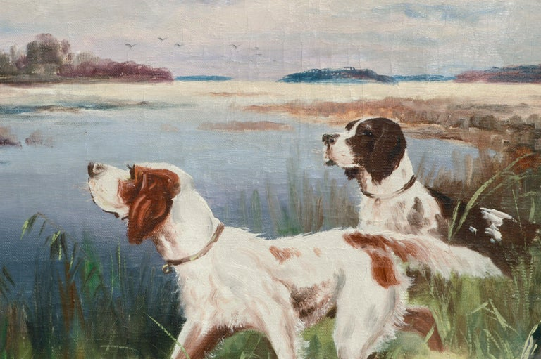 Hunting Dogs by the Lake - Landscape - Brown Landscape Painting by Nikolai Silverberg