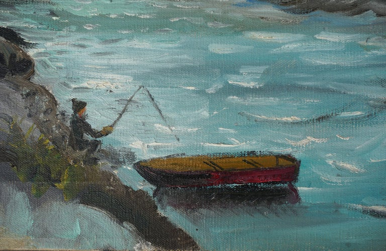 Mid Century Fishing Coyote Point San Francisco Bay - Painting by Ruth Garber Hulstede