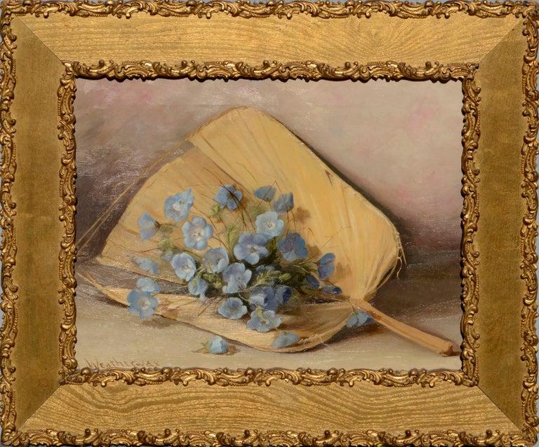 Lulu Weatherwax Interior Painting - Fan & Flowers Still Life by Lulu I. Weatherwax California Pioneer painter
