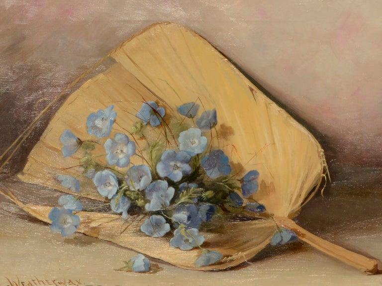 Fan & Flowers Still Life by Lulu I. Weatherwax California Pioneer painter - Painting by Lulu Weatherwax