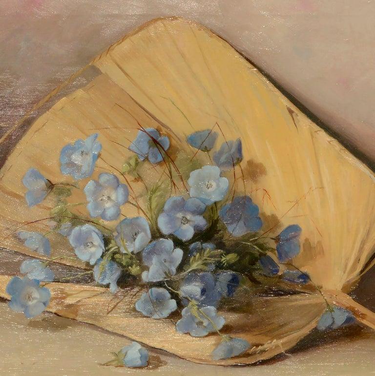 Fan & Flowers Still Life by Lulu I. Weatherwax California Pioneer painter - American Impressionist Painting by Lulu Weatherwax