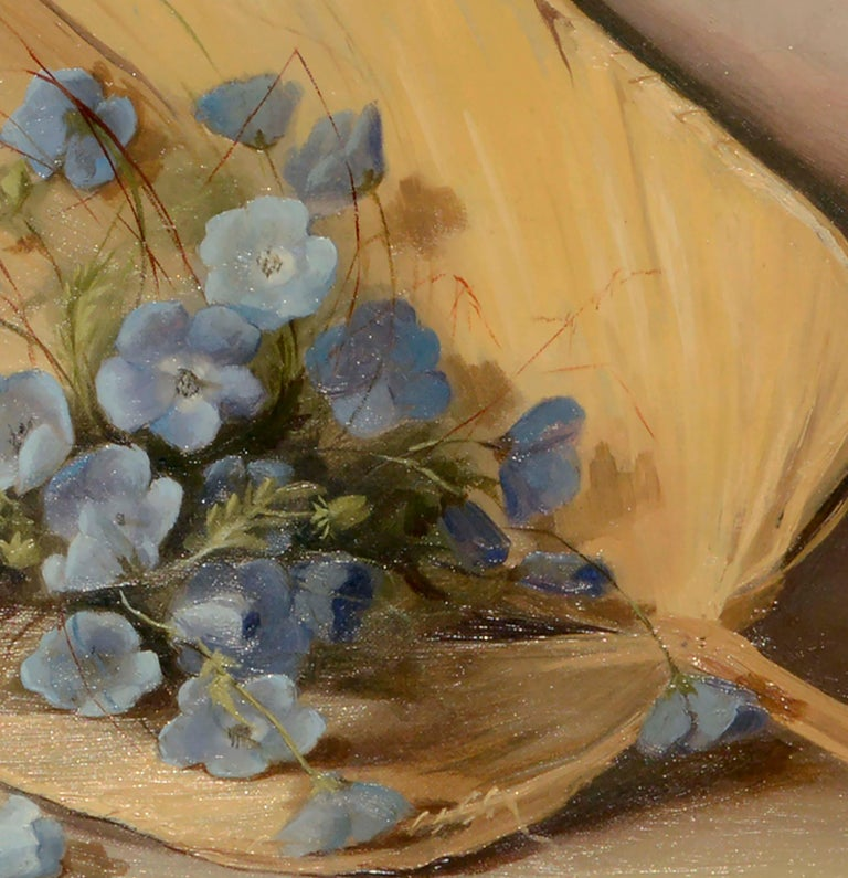 Fan & Flowers Still Life by Lulu I. Weatherwax California Pioneer painter - Brown Interior Painting by Lulu Weatherwax