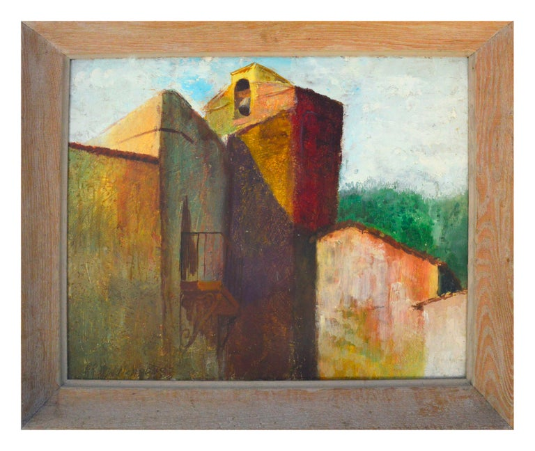 """R.R. Middlebrooks Landscape Painting - """"Monastery Bell"""" - Mid Century Abstracted Old Village Landscape"""