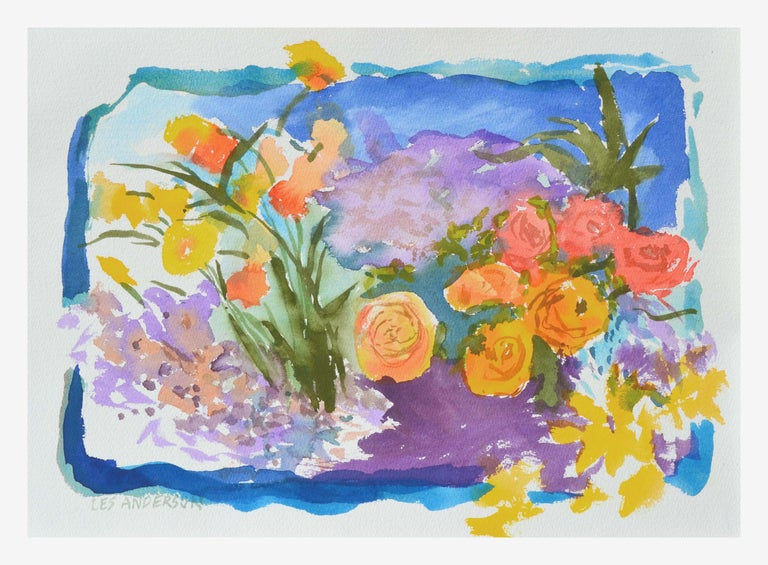 Les Anderson Landscape Art - Abstracted Roses and California Poppies Still Life