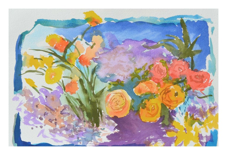 Abstracted Roses and California Poppies Still Life - Art by Les Anderson