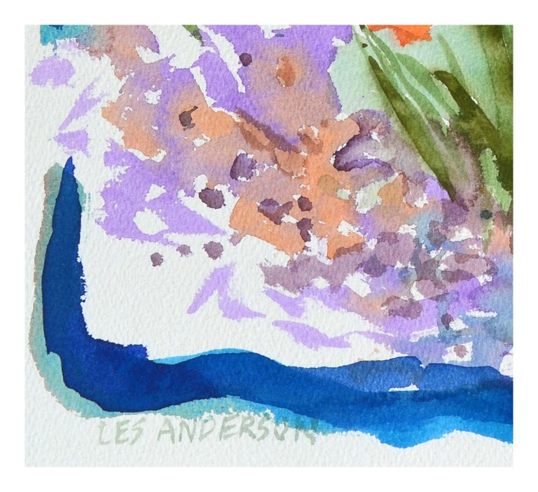 Abstracted Roses and California Poppies Still Life - American Impressionist Art by Les Anderson