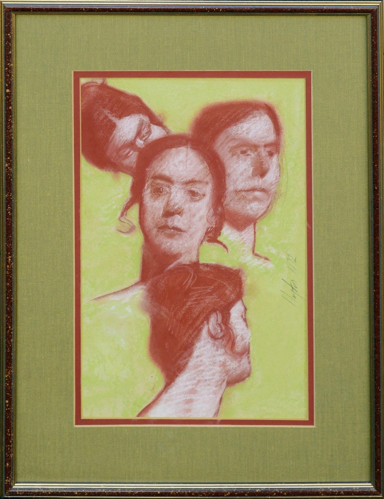 """Red and green pastel portrait study of four faces in different poses, one male and one female, by Visionary artist Clayton Anderson (American, b. 1943). Signed and dated """"Clayton 1972"""" center right. Displayed in a giltwood frame with red and green"""