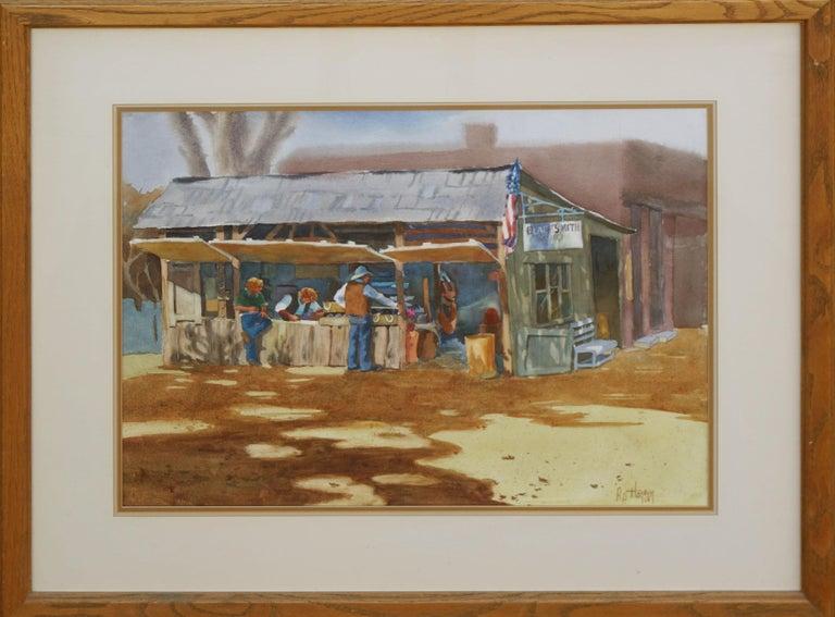 P.P. Hansen Landscape Painting - The Blacksmith's Shop - Western Figurative Landscape