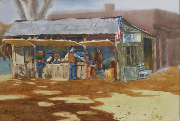 The Blacksmith's Shop - Western Figurative Landscape  - Painting by P.P. Hansen