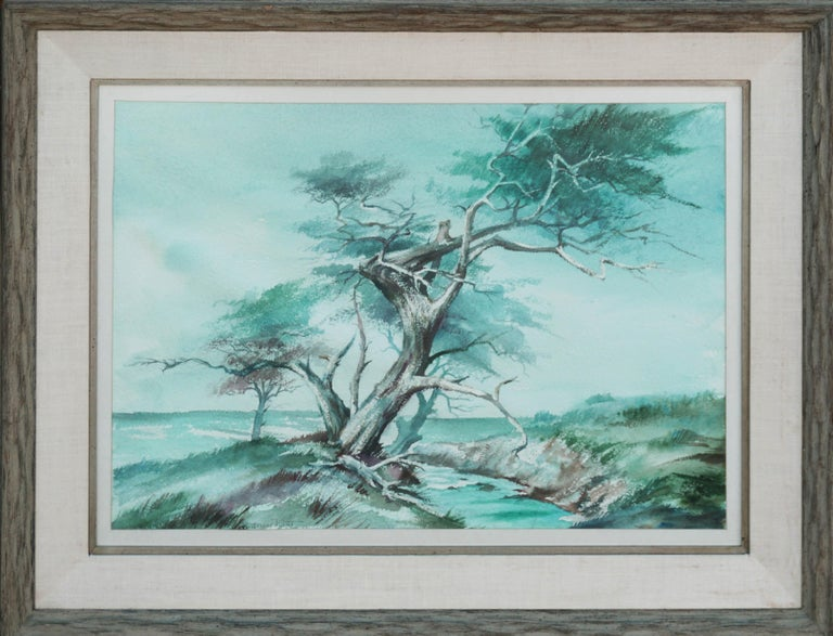 Jeanne Manget Landscape Painting - The Old Monterey Cypress Tree Mid Century Landscape