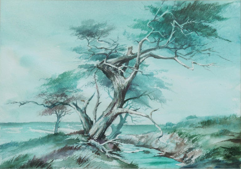 The Old Monterey Cypress Tree Mid Century Landscape - Painting by Jeanne Manget