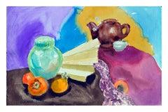 Persimmons & Tea Pot Still Life