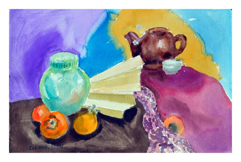 Les Anderson Still-Life - Persimmons & Tea Pot Still Life