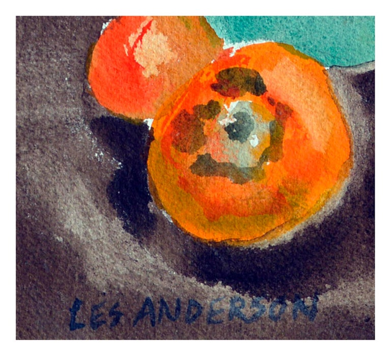 Persimmons & Tea Pot Still Life  - Gray Still-Life by Les Anderson