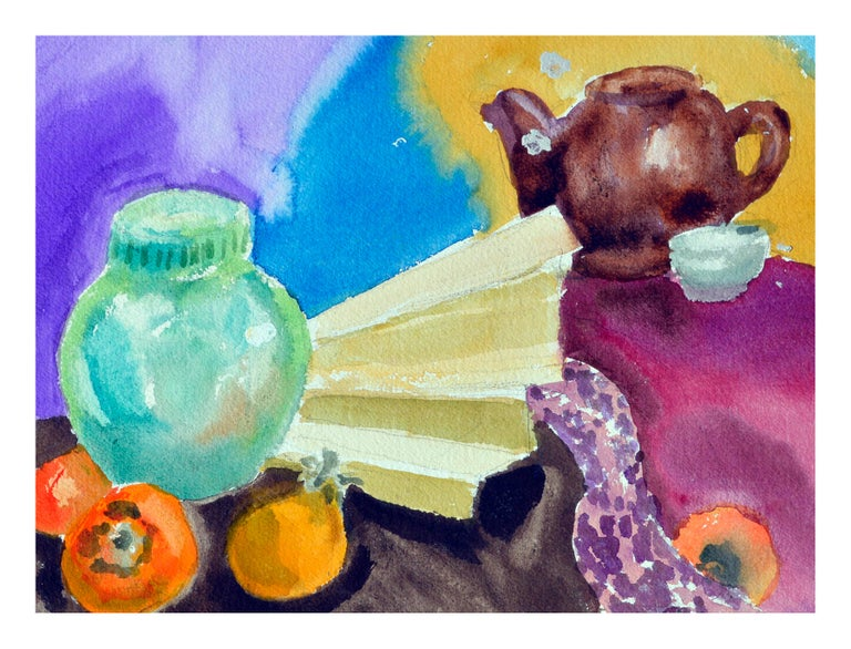 Persimmons & Tea Pot Still Life  - American Impressionist Art by Les Anderson