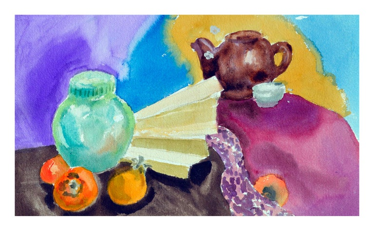 Persimmons & Tea Pot Still Life  - Art by Les Anderson