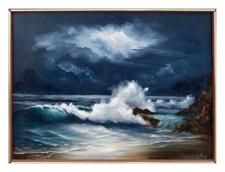 Lee Maize Landscape Painting - Moonlit Waves - Nocturnal Seascape