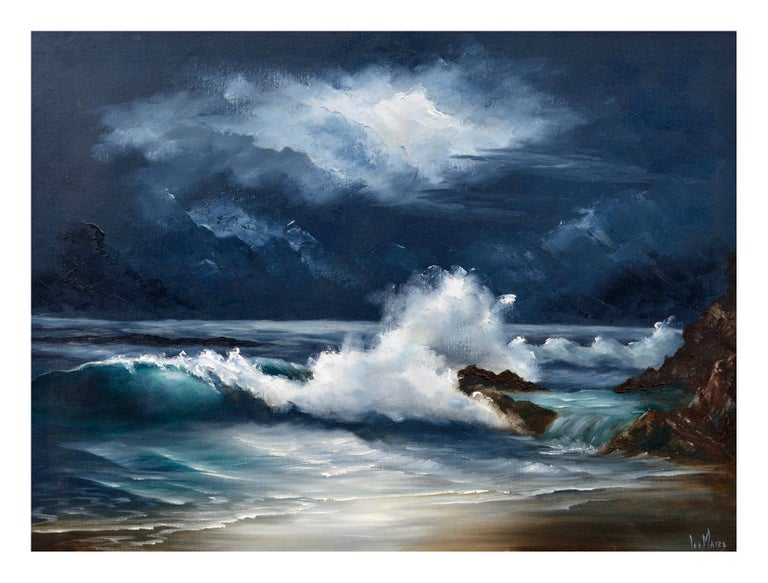 Moonlit Waves - Nocturnal Seascape  - Painting by Lee Maize