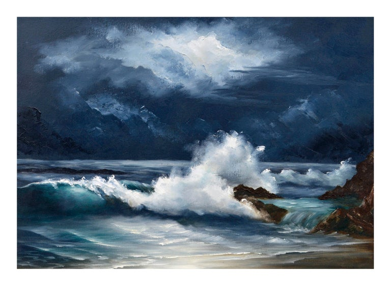 Moonlit Waves - Nocturnal Seascape  - American Impressionist Painting by Lee Maize