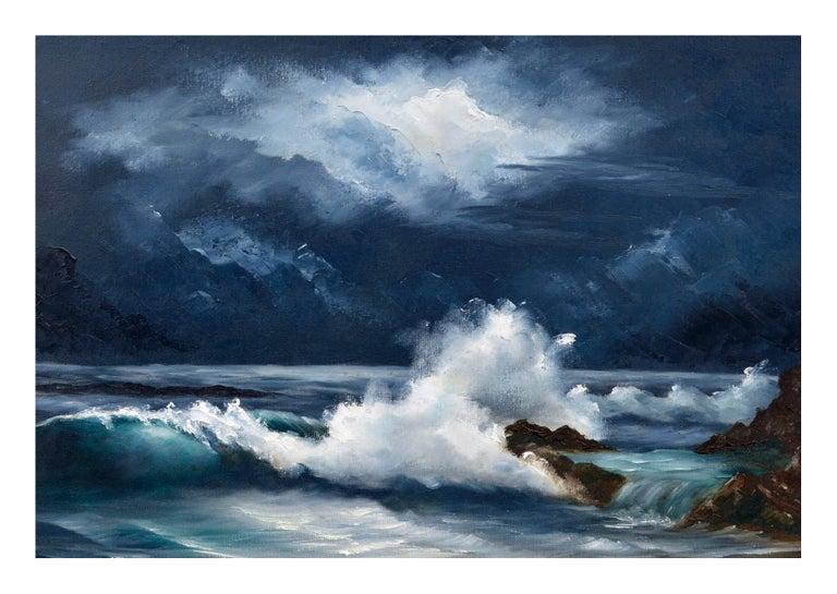 Moonlit Waves - Nocturnal Seascape  - Black Landscape Painting by Lee Maize
