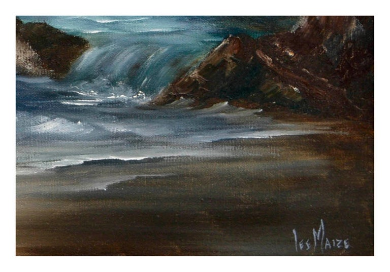 Dramatic nocturnal seascape of moonlit waves crashing on the shore by California artist Lee Maize (American, 20th Century). Presented in a wooden frame. Signed