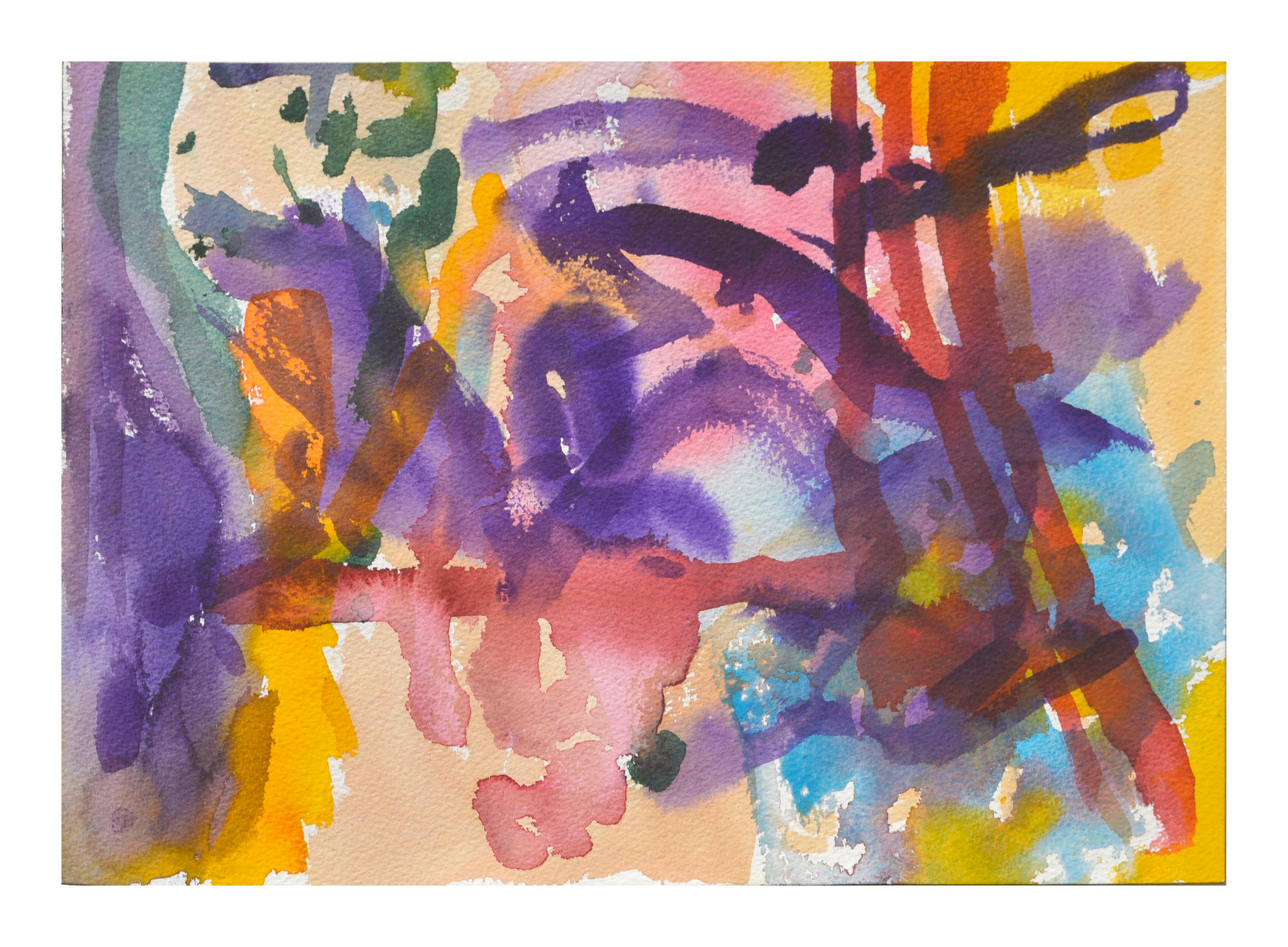 Purple & Red Abstract Watercolor