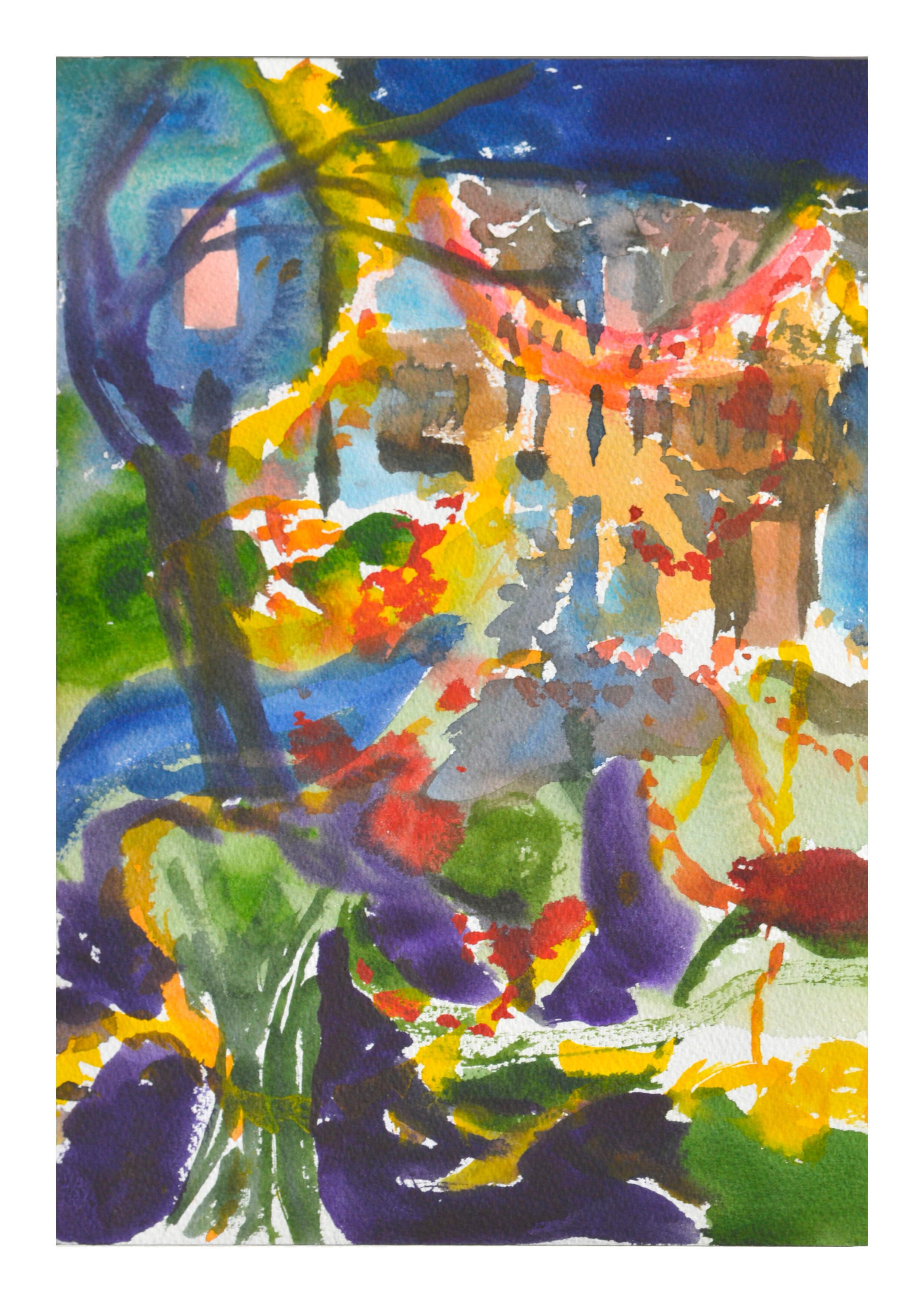 Abstract Cityscape Watercolor