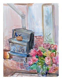 Woodstove & Bouquet Still-Life
