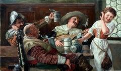 A Jolly Time -- German Genre Painting by Karl Josef Muller 1918