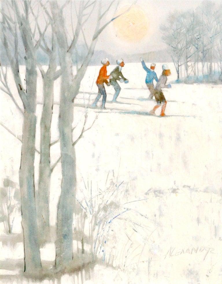 Snowy Skiers - Figurative Colorado Winter Landscape  - Painting by Bill Alexander
