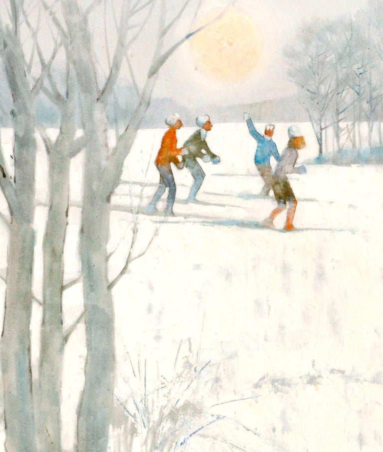 Snowy Skiers - Figurative Colorado Winter Landscape  - American Impressionist Painting by Bill Alexander