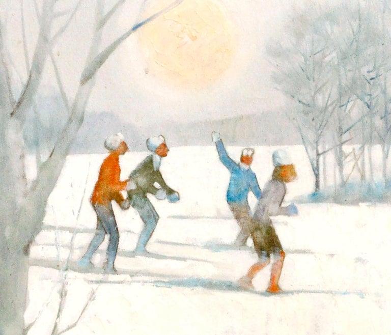 Snowy Skiers - Figurative Colorado Winter Landscape  - Beige Figurative Painting by Bill Alexander